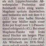 Spielbericht 20. Spieltag Kreisliga Nordhausen 2012/2013