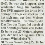 Spielbericht 22. Spieltag Kreisliga Nordhausen 2012/2013