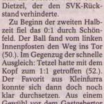 Spielbericht 24. Spieltag Kreisliga Nordhausen 2012/2013