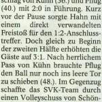 Spielbericht 7. Nachholspieltag Kreisliga Nordhausen 2012/2013