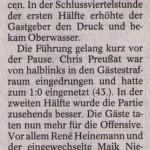 Spielbericht 4. Spieltag Kreisliga Nordhausen 2013/2014
