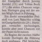 Spielbericht 1.Nachholsspieltag Kreisliga Nordhausen 2013/2014