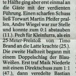 Spielbericht 17. Spieltag Kreisliga Nordhausen 2013/2014